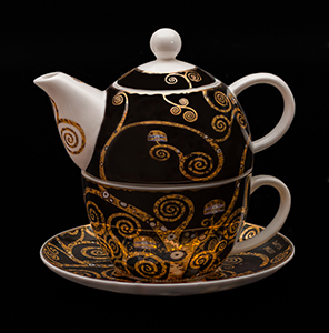 Goebel : Gustav Klimt Porcelain Tea for One : The tree of life (black)