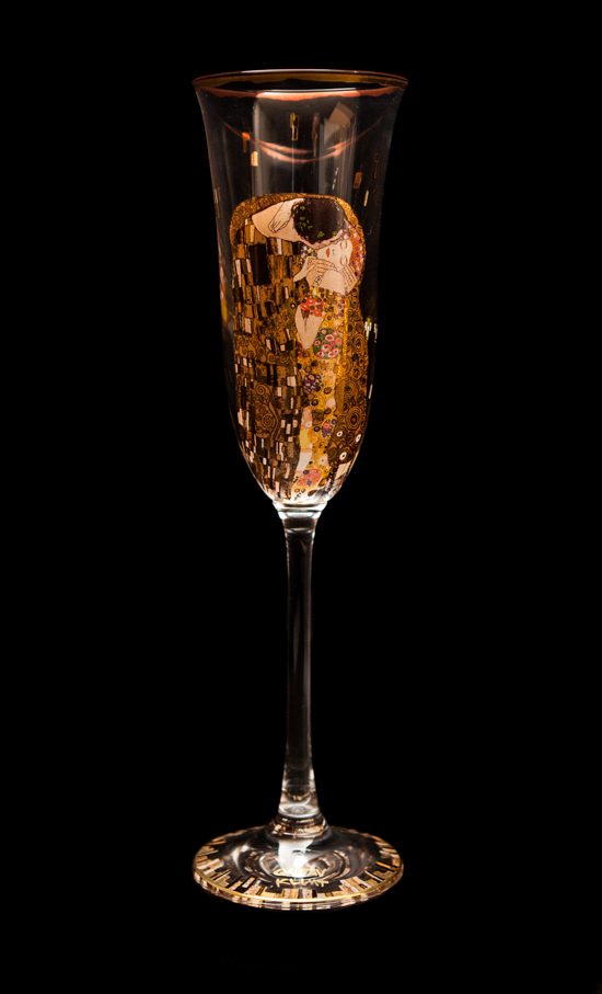 Gustav Klimt Champagne Glass : The kiss