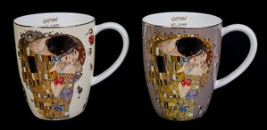 Goebel : Gustav Klimt Set of 2 porcelain mugs : The kiss (bicolor)