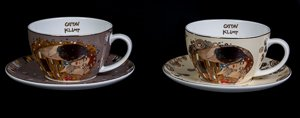 Goebel : Gustav Klimt Set of 2 cups and saucers : The kiss (bicolor)