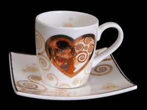 Gustav Klimt expresso cup and saucer : Heart Kiss