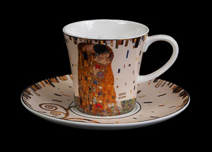 Gustav Klimt coffee cup and saucer : The kiss (white)