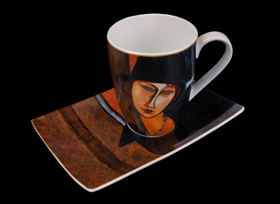 Modigliani mug and saucer, Woman with hat (Goebel)