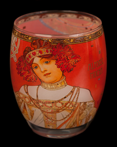 Alfonse Mucha glass, candle jar : Fall, Goebel