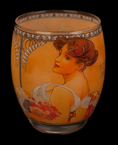 Alfonse Mucha glass, candle jar : Summer, Goebel