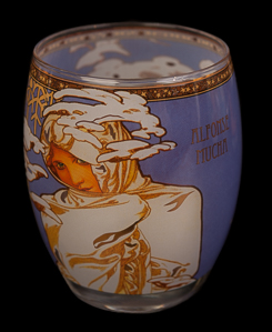 Verre ou photophore Alfonse Mucha : Hiver, Goebel