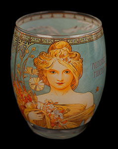 Alfonse Mucha glass, candle jar : Spring, Goebel