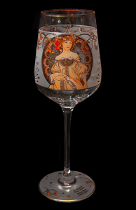 Goebel : Alfonse Mucha Wine Glass : Dream