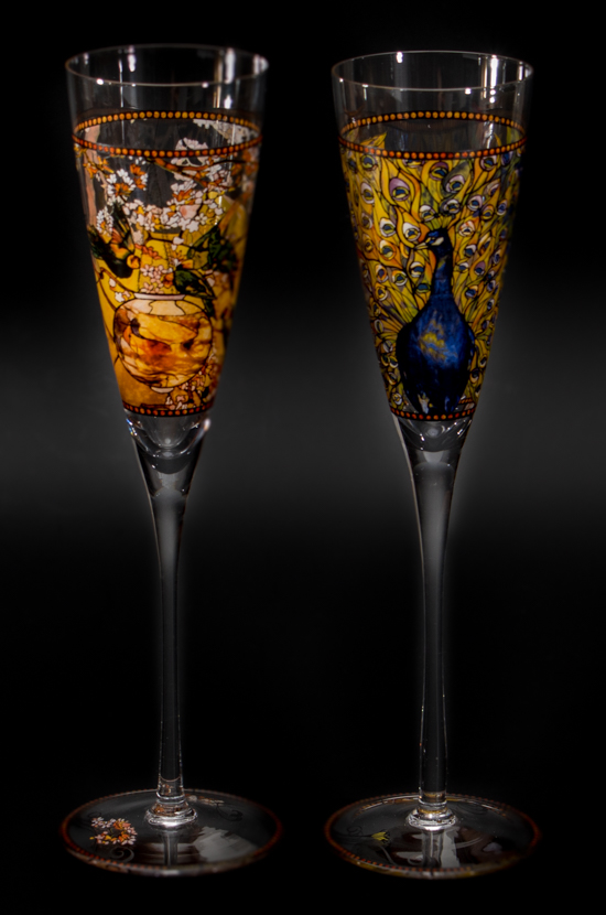 Louis C. Tiffany Champagne Glasses : Parakeets and Peacock