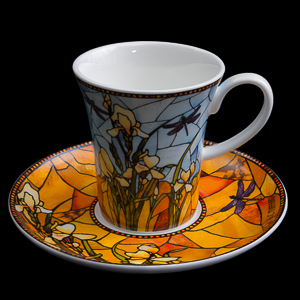 Goebel : Tiffany Porcelain coffee cup and saucer : Irises