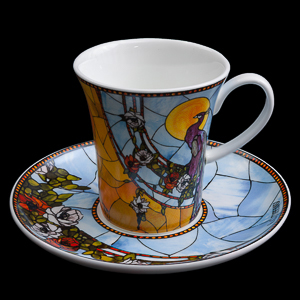 Goebel : Tiffany Porcelain coffee cup and saucer : Peacock