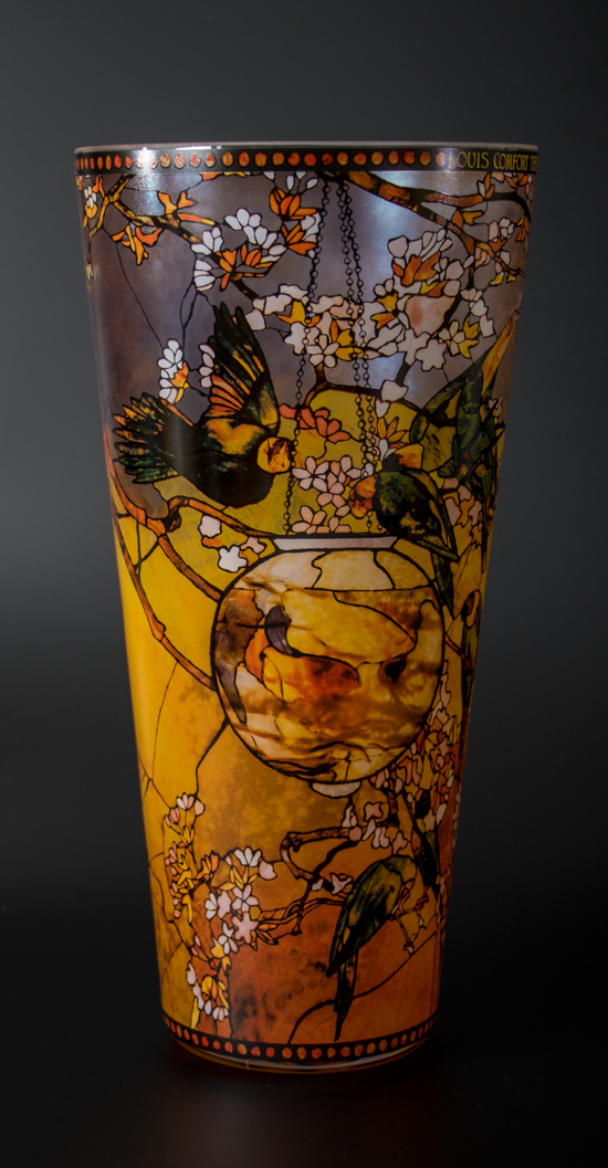 Vaso Louis C. Tiffany, in vetro : Pappagallini