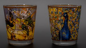 Louis C. Tiffany Tealight Holders or glasses : Peacock & Parakeets
