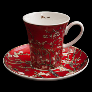 Van Gogh Porcelain coffee cup and saucer, Almond Tree (red)