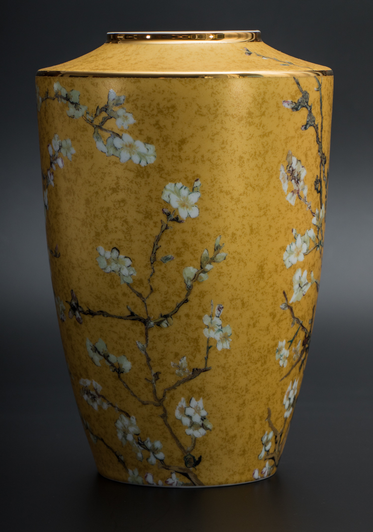 Vincent Van Gogh Porcelain Vase Almond Tree Gold