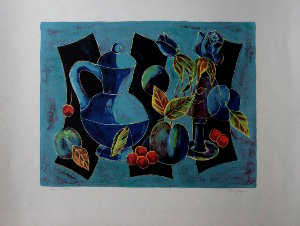 Lithographie Tony Agostini - Nature morte aux fruits
