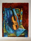 Tony Agostini : Original Lithograph : The violin