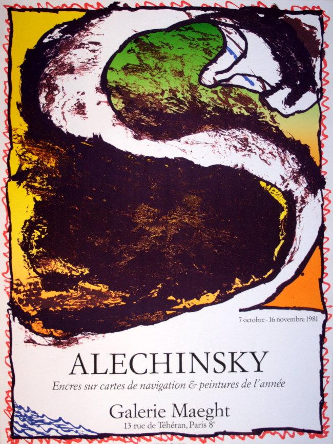Pierre alechinsky affiche en lithographie originale de 1981 for Alechinsky lithographie