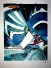 Paul Ambille : Lithographie originale : Les Voiles Bleues