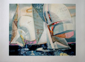 Paul Ambille Lithograph - Sailboats