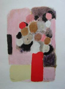 Yves Brayer Lithograph - The red vase