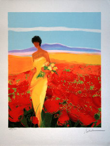 Emile Bellet Lithograph - The poppies