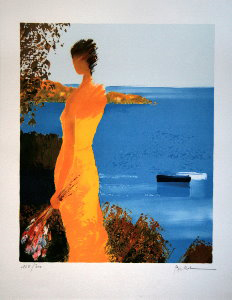 Emile Bellet Lithograph - In a yellow dress