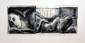 Carla BENVENUTO : Lithographie : Tre mani e un piede