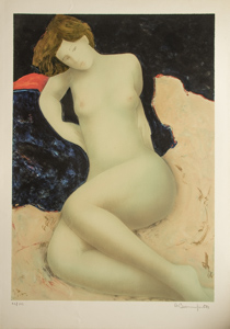 Alain Bonnefoit Lithograph - Nude on a midnight blue background