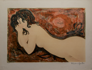 Alain Bonnefoit Lithograph - Nude to the ripples