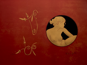 Alain Bonnefoit Lithograph - Lysistrata IV : Medallion on red background