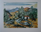 Yves BRAYER : Original Lithograph : Cabanon dans les oliviers � Filitosa