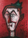 Bernard BUFFET : Lithographie originale : Clown sur fond rouge