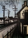 Bernard BUFFET : Lithographie originale : La route du village