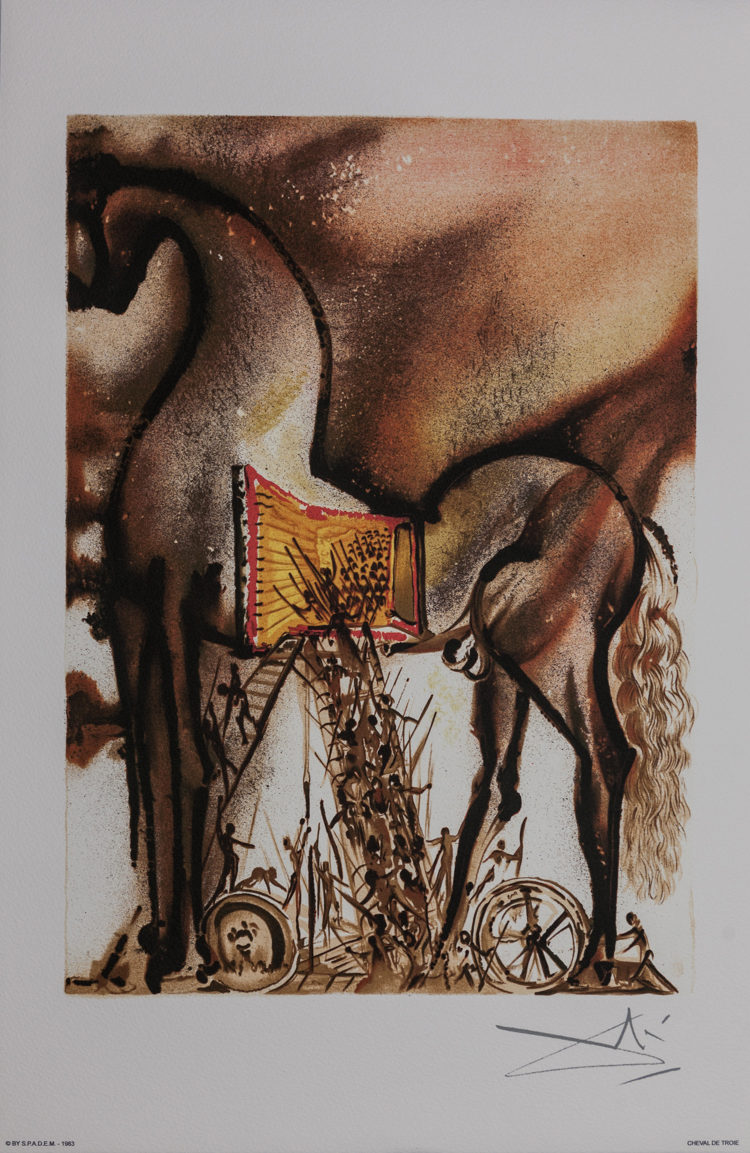 salvador dali lithograph   the trojan horse