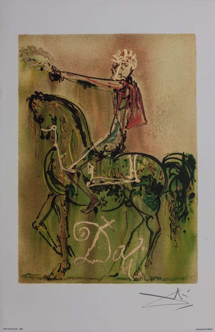 salvador dali lithograph   the roman knight