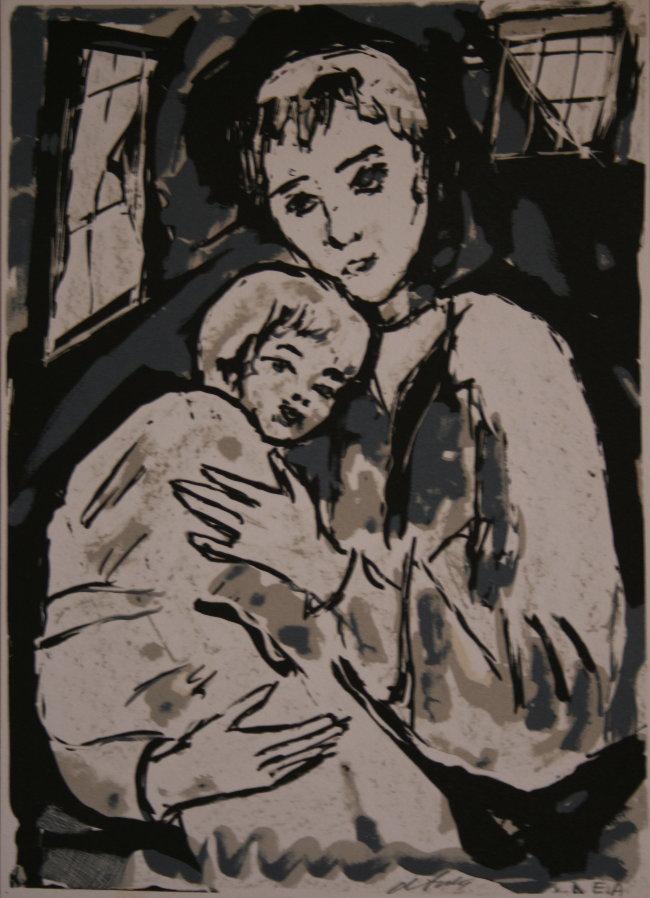 Henry D'ANTY : Lithographie originale signée et numérotée : La mère et l'enfant