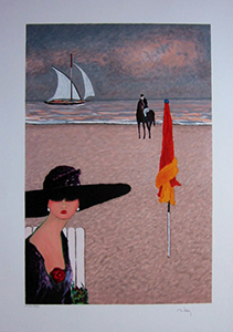 Ramon Dilley Lithograph - Elegant with the hat