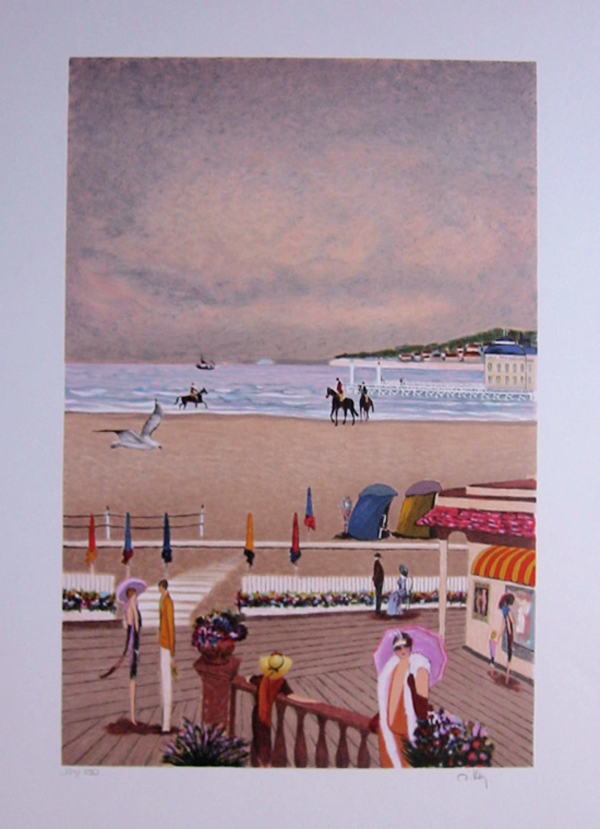 Ramon Dilley : Original Lithograph : On the boards of Deauville