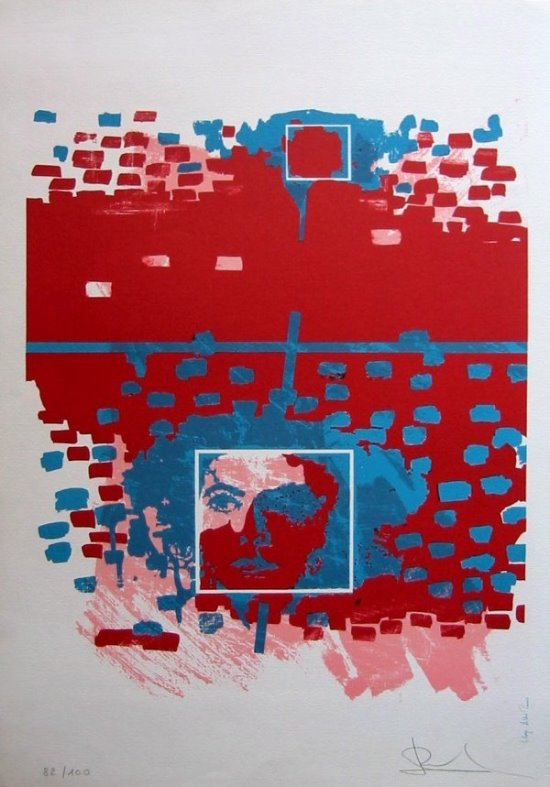 Jack Dufour Original Lithograph : The square