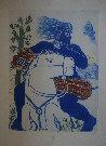 Alexandre (Alecos) FASSIANOS : Gravure originale signée et numérotée : Chevalier bleu