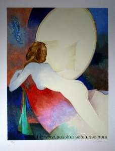 Claude Gaveau Lithograph - Lying nude with the mirror