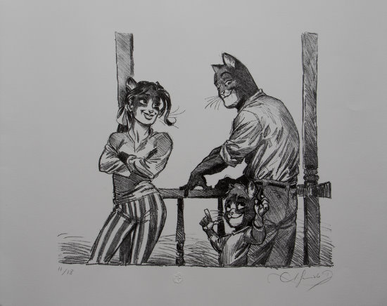 Lithographie originale de Juanjo Guarnido : John's family II (Blacksad)