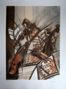 Lithographie Dominique Guillemard - Violons