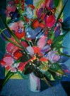 Camille HILAIRE : Original Lithograph : The red and blue Bouquet