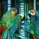 Camille HILAIRE : Original Lithograph : The parakeets