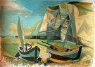 Camille HILAIRE : Original Lithograph : The two boats