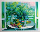 Camille HILAIRE : Original Lithograph : Still life with open window for Pernod Ricard