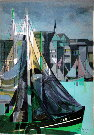 Camille HILAIRE : Original Lithograph : Sailboat in the port