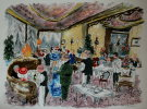 Urbain HUCHET : Original Lithograph : The great Restaurant